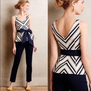 Anthropologie Maeve mitered stripe peplum top